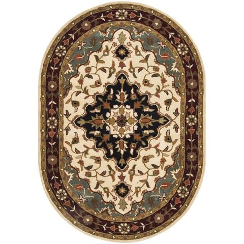"Safavieh Handmade Heritage Traditional Tabriz Ivory/ Red Wool Rug - 4'6"" x 6'6"" Oval"