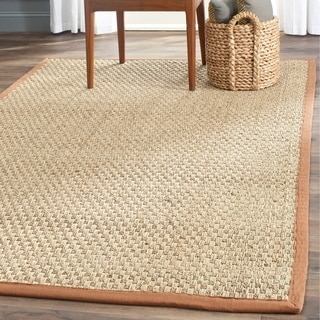 Safavieh Casual Natural Fiber Natural and Brown Border Seagrass Rug (6' x 9')