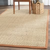Safavieh Casual Natural Fiber Natural and Brown Border Seagrass Rug - 6' x 9'