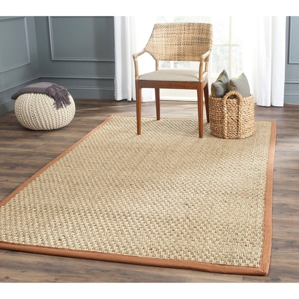 Safavieh Casual Natural Fiber Natural and Brown Border Seagrass Rug (9' x 12')