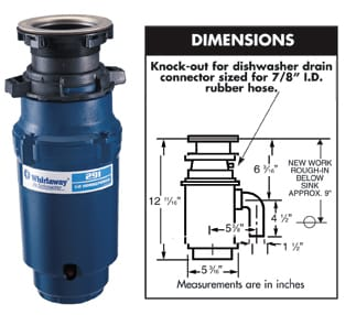 WHIRLAWAY 291 1//2 HP Continuous Feed Garbage Disposal