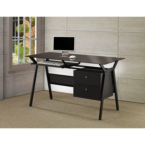 Porch & Den Merlyne Black Computer Desk with Keyboard Tray