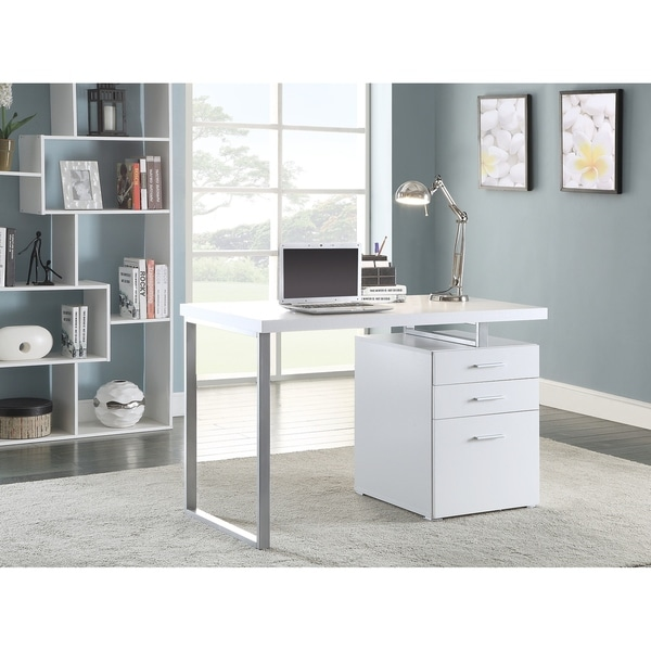 Ramsey White and Silver 3-drawer Writing Desk