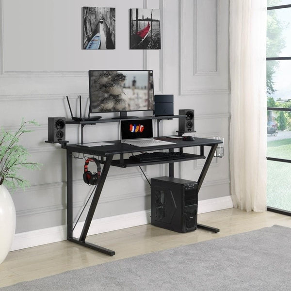 Edie Black and Gunmetal Gaming Desk with Keyboard Tray