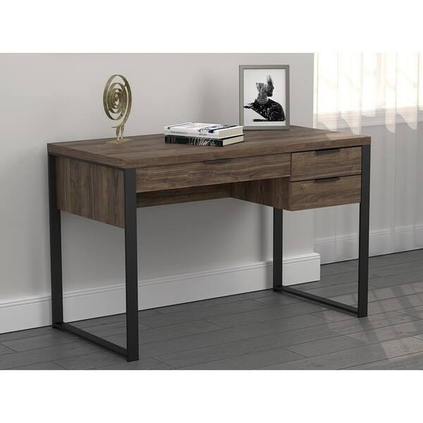 Tremendous Shop Romy Aged Walnut And Gunmetal 3 Drawer Writing Desk Spiritservingveterans Wood Chair Design Ideas Spiritservingveteransorg
