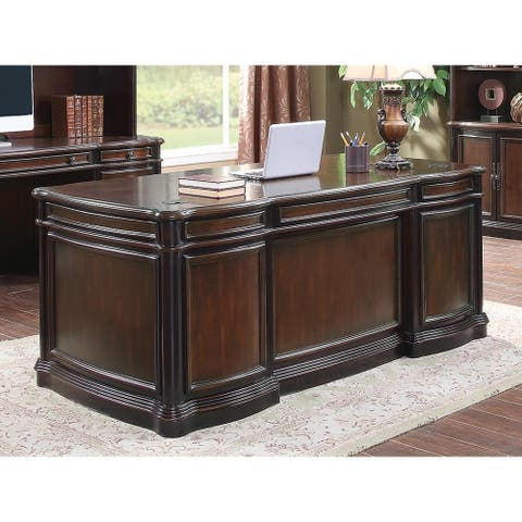 Alena Espresso and Chestnut 5-drawer Executive Desk