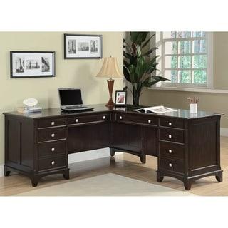 Savia Cappuccino L-shape Desk with Keyboard Tray