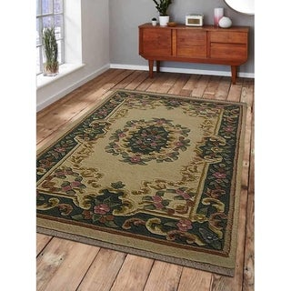Traditional Hand Knotted Aras Wool Indian Area Rug Oriental Carpet