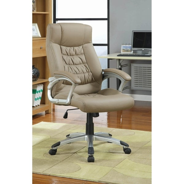 Elsa Taupe Upholstered Office Chair with Padded Arms