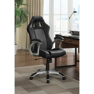 Sheryl Black and Grey Swivel Office Chair with Casters
