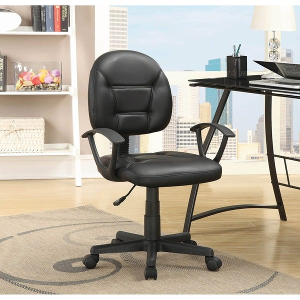 Porch & Den Merridell Black Leatherette Height Adjustable Office Chair