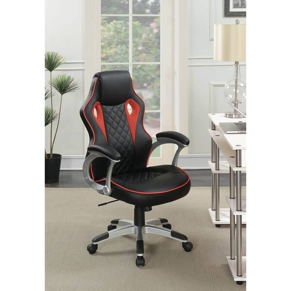 Fantastic Shop Tisbury Black And Red Swivel Office Chair With Casters Beatyapartments Chair Design Images Beatyapartmentscom