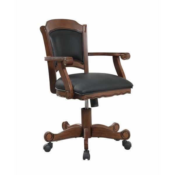 Luisa Black Upholstered Game Chair with Casters