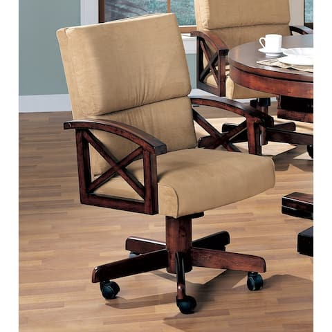 Nestor Tan Upholstered Game Chair with Casters