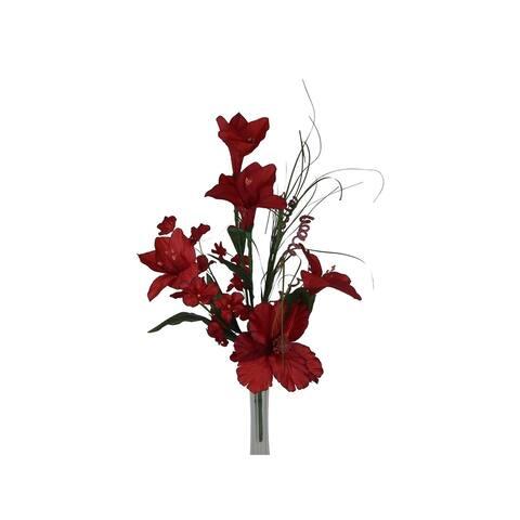 "22"" tall Lily and hydragea silk flower bush"