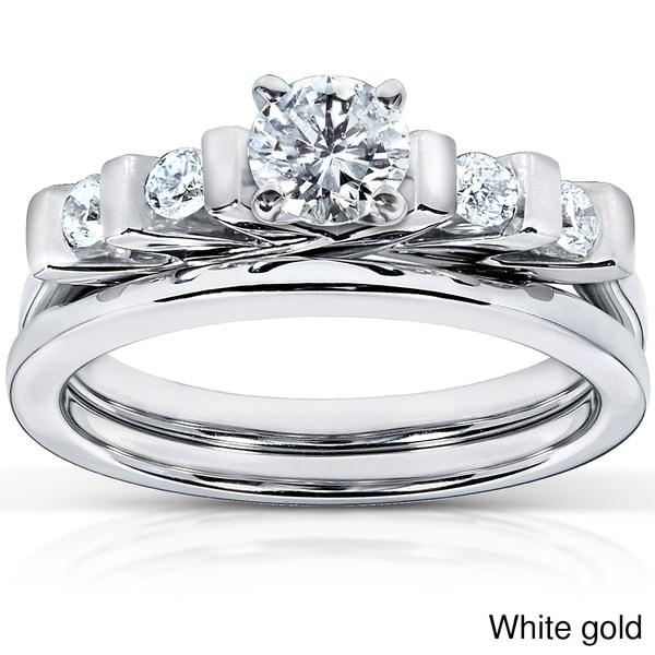 Annello by Kobelli 14k Gold 1/2ct TDW Princess Cut 5-Stone Bar Diamond Bridal Set (HI, I1