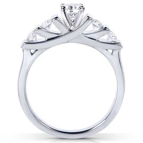 Annello by Kobelli 14k Gold 1/2ct TDW Round-cut 5-stone Bar Diamond Bridal Set