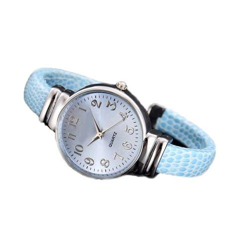 Light Blue Cuff Watch Silver Easy Read Dial