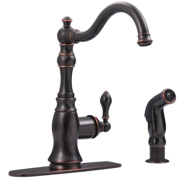 Fontaine Bellver 2 or 4 Hole, Single Handle Traditional Kitchen Faucet with Spray. Opens flyout.