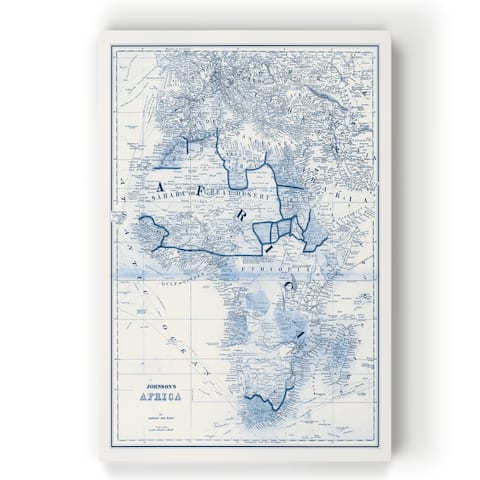 Africa in Shades of Blue -Gallery Wrapped Canvas