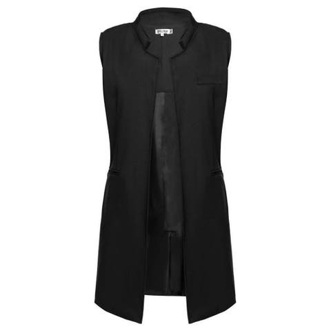 Meaneor Women Fahion Stand Collar Sleeveless Open Front Solid Casual Long Blazer Vest