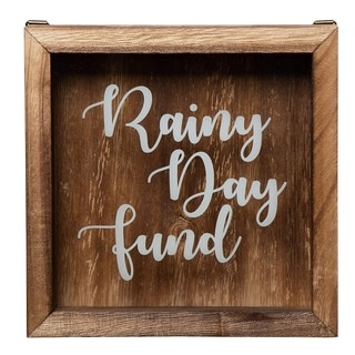 Wooden Rainy Day Fund Shadow Box Bank Adult Piggy Money Saving Emergency Trip