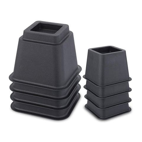 8-Pack Set 3/ 5/ 8 Inches Bed Risers Furniture Risers Heavy Duty DURABLE Plastic