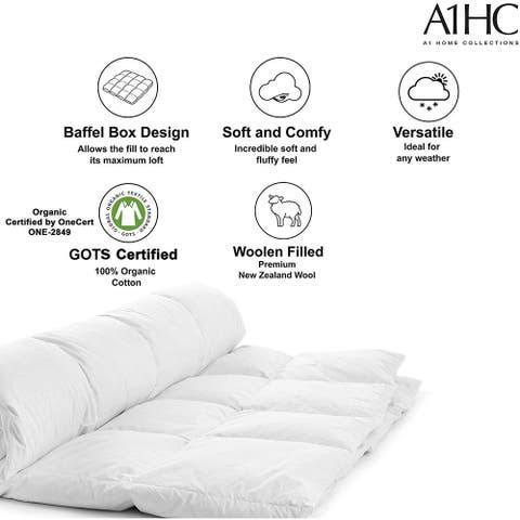 """All Season 100% New Zealand Wool Quilted Organic Throw Blanket-92""""X96"""""""