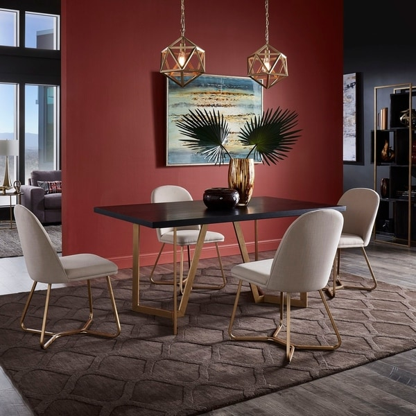 Cheyenne Black and Distressed Gold Finish Dining Set by iNSPIRE Q Modern. Opens flyout.