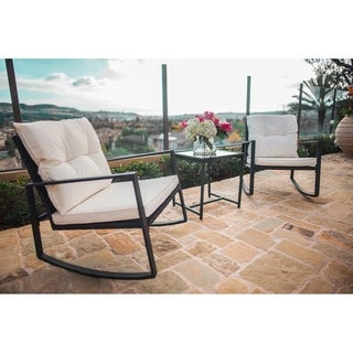 Havenside Home Pheap Outdoor 3-piece Rocking Wicker Bistro Set with Coffee Table