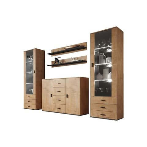 Soho 3 Modern Wall Unit Entertainment Center with 16 Color LED Lights