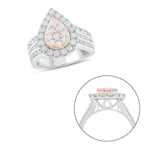 Cali Trove 10KT White and Pink Gold with 2 ct TDW Fashion Ring.