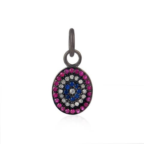 925 Sterling Silver Diamond Ruby Sapphire Charms Silver Jewelry By Artisan