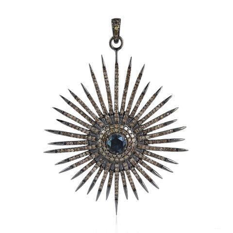 925 Sterling Silver Diamond Star Spinel Designer Pendants Pave Jewelry
