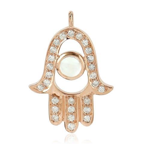 18Kt Gold Diamond Hamsa Moonstone Hamsa Charms Gold Jewelry
