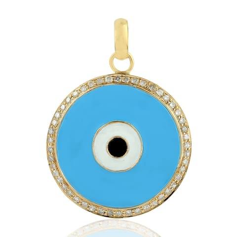 18Kt Gold Diamond Designer Pendants Enamel Jewelry