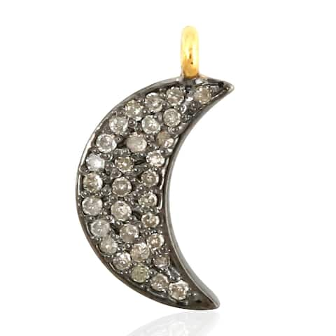 14Kt Gold 925 Sterling Silver Diamond Moon Designer Charms Gold Jewelry