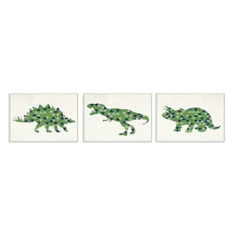 The Kids Room by Stupell Geometric Dinosaurs Green Blue Kids Design Canvas Wall Art, 10 x 15, Proudly Made in USA