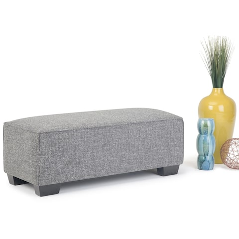 WYNDENHALL Branson 48 inch Wide Contemporary Rectangle Ottoman Bench in Smoke Grey Fabric