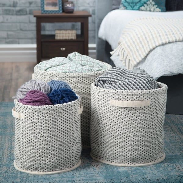 WYNDENHALL Raven Transitional 3 Pc Nesting Storage Basket Set in Natural,Black, White Woven Fabric - 16 inch wide