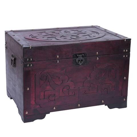 Vintage Style Cherry Wooden Storage Trunk with Fretwork Design