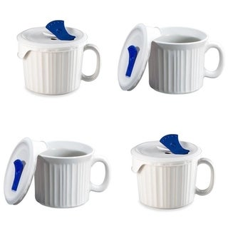 CorningWare French White Pop-Ins 20-ounce Mugs with Vented Covers (Set of 4)