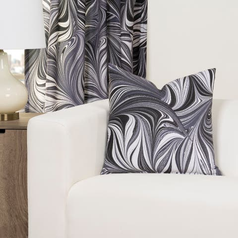 The Art of Marbling Black Ash Designer Throw Pillow