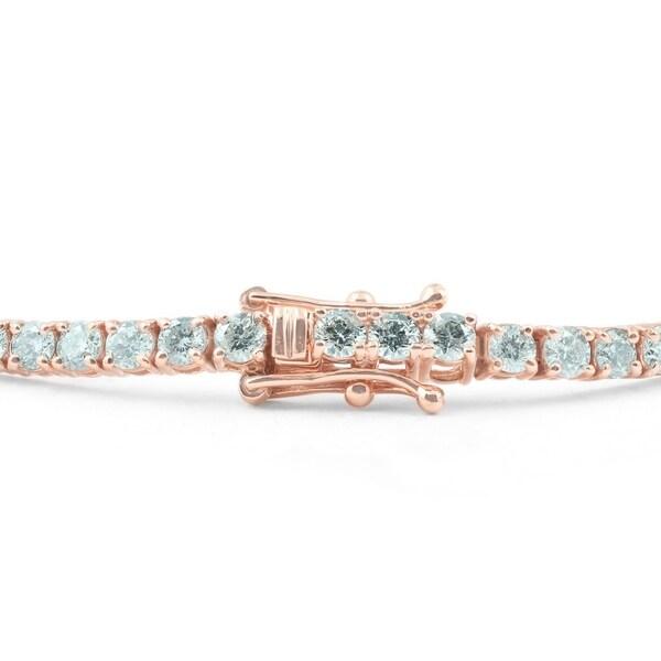 "4 mm Round Turquoise 7/"" Bracelet,14K Yellow Gold"