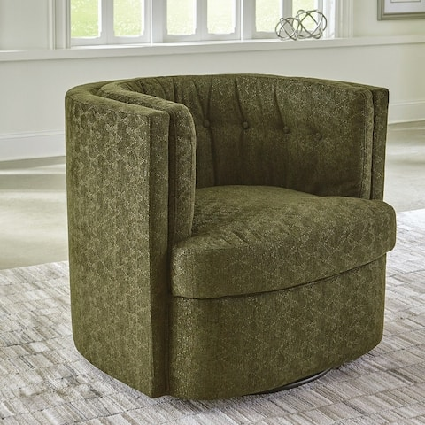 The Curated Nomad Jeramy Recessed-arm Tufted Swivel Chair