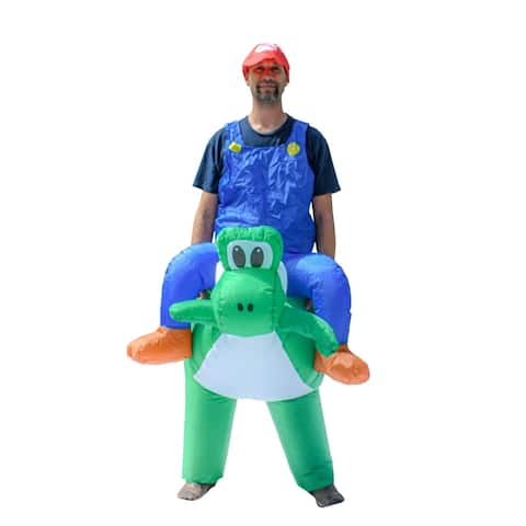 ALEKO Adult Sized Halloween Inflatable Party Costume - Mario Riding Yosh - Adult Sized