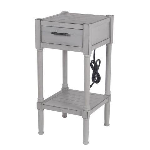 Privilege Dove Gray 1 Drawer Accent End Table USB & AC Out