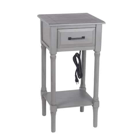 Privilege Vendee Gray 1 Drawer Accent End Table USB & AC Out
