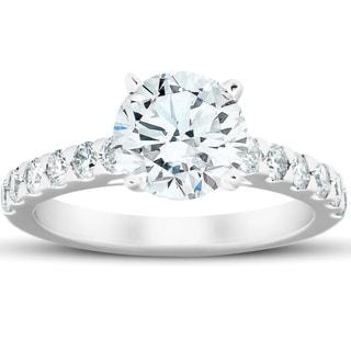 2 3/4 Ct Diamond Engagement Ring 14k White Gold