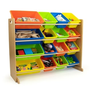 Humble Crew Super Sized 16 Bin Toy Storage Organizer, Natural/Multi